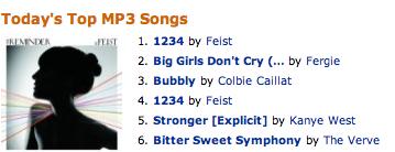 Top Singles at Amazon's MP3