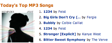 Top Singles at Amazon's MP3