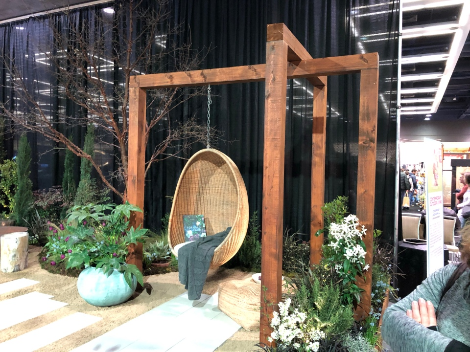 Hanging garden swing in a display garden
