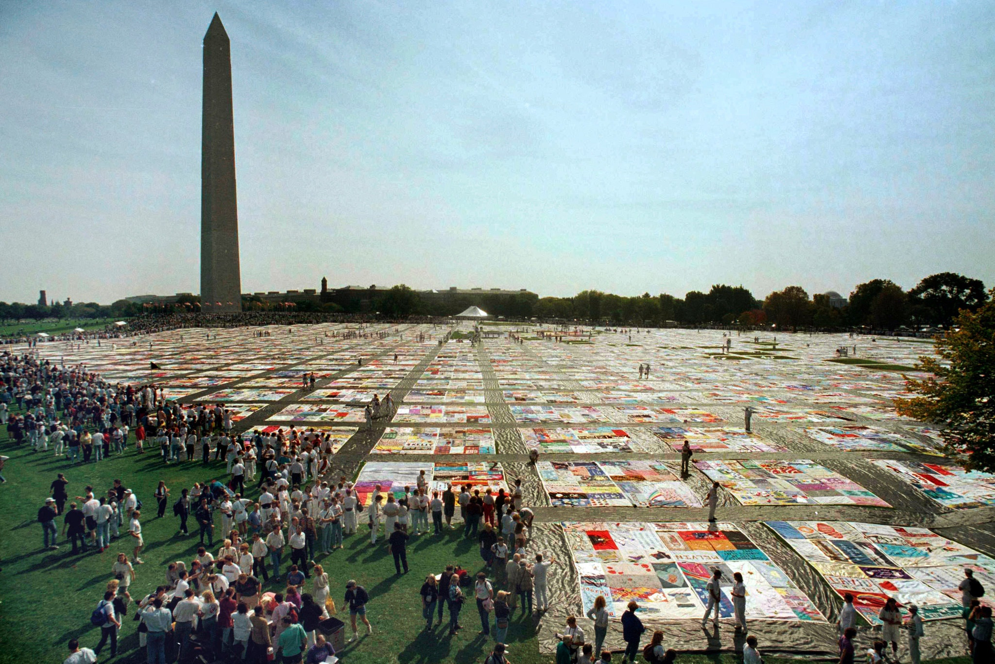 AIDS Quilt on display on the Mall in DC